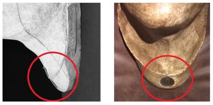 Fig. 7 (a sinistra) - Il marchio di fabbrica sul calco del Louvre. Fig. 8 (a destra): Il marchio di fabbrica sul calco coll. privata