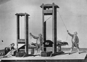Execution by guillotine in Paris during the French Revolution. (Photo by Hulton Archive/Getty Images)