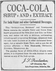 Una delle prime pubblicità di Pembleton, coerente con quella pubblicata sull'Atlanta Journal nel 1905