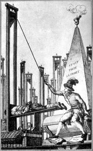 Fumetto satirico del XVIII secolo: Robespierre nell'atto di ghigliottinare il boia, dopo aver ghigliottinato tutti i francesi. Prima del Terrore, Robespierre aveva combattuto per l'abolizione della pena di morte. (Pubblico Dominio)