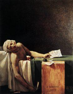 """Jacques-Louis David, """"La Mort de Marat"""", dipinto nello stesso anno della morte del rivoluzionario. (Web Gallery of Art, public domain)"""