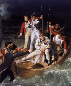 """Sir Horatio Nelson when wounded at Teneriffe"", dipinto da Richard Westall nel 1806 (Olio su tela, Pubblico Dominio)"
