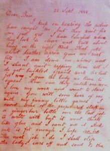 """La Lettera """"Dear Boss"""" in cui per la prima volta appare il nome """"Jack the Ripper"""" (Credit: Pubblico Dominio)"""