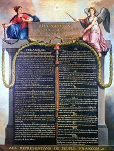 """Il dipinto del 1989 di Jean-Jacques-François Le Barbier rappresentante la Dichiarazione dei Diritti dell'Uomo e del Cittadino. Si noti """"l'occhio della provvidenza"""". Pubblico Dominio."""