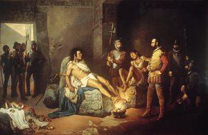 """Leandro Izaguirre, """"El suplicio de Cuauhtémoc"""", 1892. Olio su tela – Museo Nacional de Arte, www.munal.com.mx."""