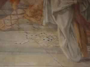 Giacinto Gimignani , Miracolo della Madonna del Sasso, particolare: le carte da gioco; chiesa di Sant'Agostino, Lucca, ca. 1648. Foto degli autori.