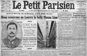 La copertina del Le Petit Parisien del 14 dicembre 1913, con la scoperta del colpevole del furto della Gioconda. Da notare il nome di Peruggia, riportato errato. Immagine di pubblico dominio.
