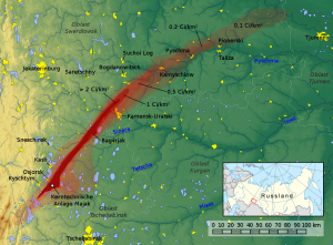 Mappa dell'EURT (East Urals Radioactive Trace): l'area coinvolta dalla contaminazione dovuta all'incidente di Kyshtym (credit: Jan Rieke, maps-for-free.com, File:Russia conic location map.svg, CC BY-SA 3.0)