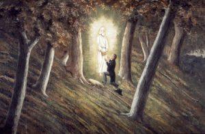 Un dipinto raffigurante Joseph Smith sulla collina di Cumora, nel momento di ricevere dall'Angelo Moroni le Tavole d'Oro. (credit: by C.C.A. Christensen, XIX secolo, Pubblico Dominio)