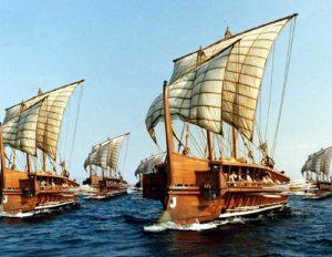 Ricostruzione fotografica di una flotta di trireme greche (credit: The Perseus Project, Dominio Pubblico)