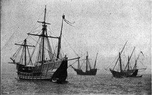 Una replica delle tre navi colombiane, in mare durante un'esposizione a Chicago, all'inizio del '900 (credit: Pubblico Dominio)