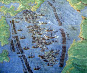 """""""La battaglia di Lepanto"""" dipinta nel 1572 (l'anno successivo all'evento) da Fernando Bertelli e oggi esposta nella Galleria delle carte geografiche, Musei Vaticani (credit: Pubblico Dominio)"""