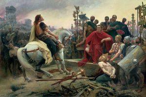 Vercingetorige, dipinto di Lionel Royer nel 1899, getta le sue armi ai piedi di Cesare (credit: Musée Crozatier, Le Puy, Pubblico Dominio)