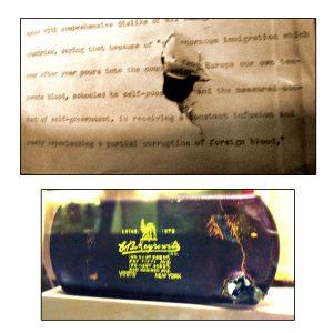 La custodia degli occhiali e gli appunti del discorso di Theodore Roosevelt, colpiti dal proiettile calibro .38 (credit: Rickster77 - en.wikipedia, CC-BY-SA-3.0-MIGRATED)