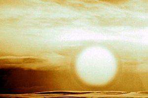 La sfera di luce, di circa 8 kilometri di diametro, generata dall'esplosione della Tsar Bomba (credit: atomicforum.org, fonte non più disponibile)