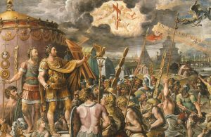 """Particolare della """"Visione della Croce"""", della scuola di Raffaello Sanzio, nel XVI sec. (credit: Pubblico Dominio)"""