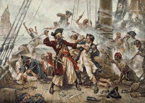 """""""La cattura del pirata Barbanera nel 1718"""", dipinto da Jean Leon Gerome Ferris nel 1920 (credit: Pubblico Dominio)"""