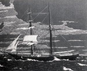 Un'incisione della seconda metà del XIX secolo raffigura il Mary Celeste al momento del ritrovamento (credit: Pubblico Dominio)