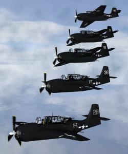 Una ricostruzione in computergrafica della Squadriglia 19 in volo (credit: Anynobody/Wikipedia, GFDL)